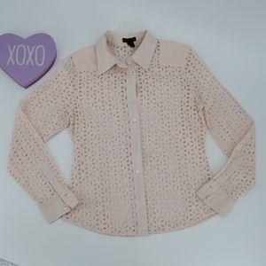 CLUB MONACO  pink eyelet button down shirt